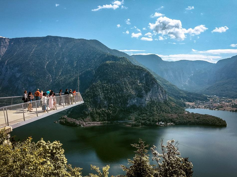 View over the World Heritage Skywalk in Hallstatt - glass platform