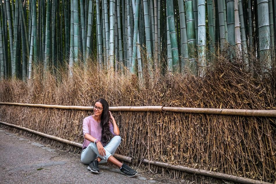 Girl at Kyoto Arashiyama Bamboo Forest