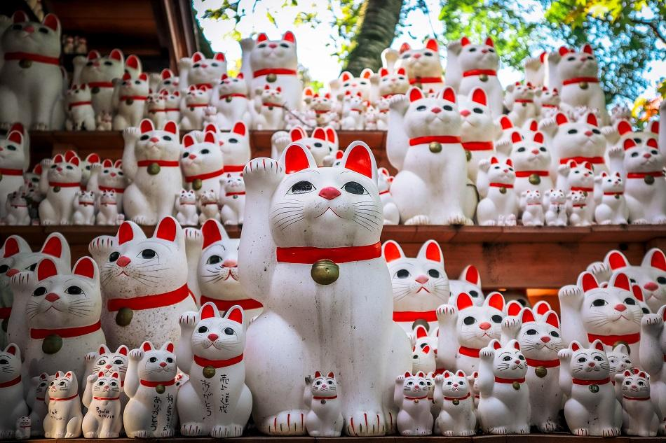 Lucky cat charms at Gotokuji Temple Tokyo