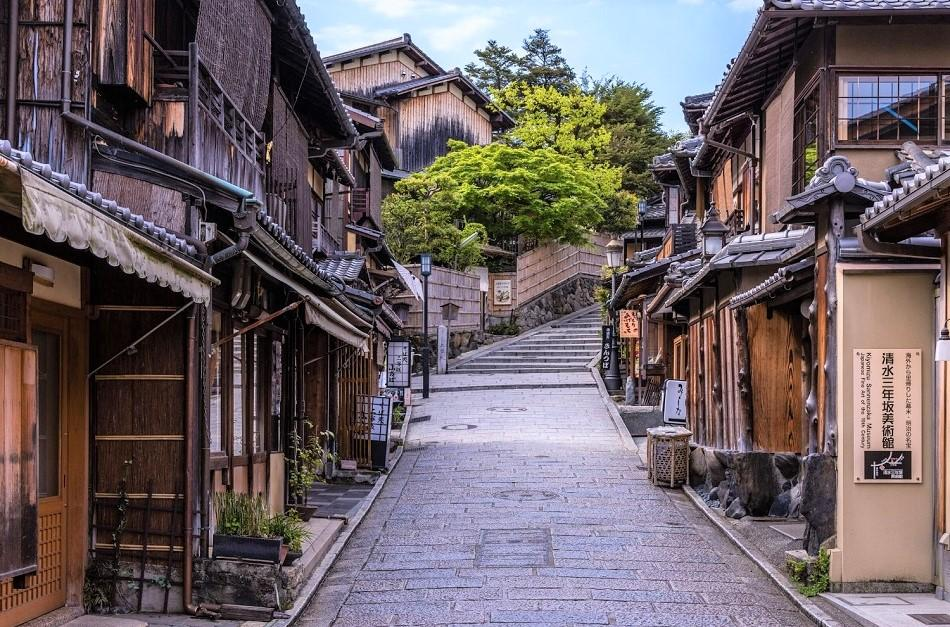 wooden houses and a narrow street in kyoto