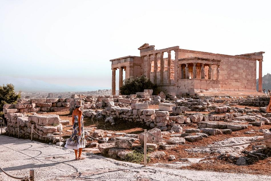 Girl admiring the Acropolis in Athens
