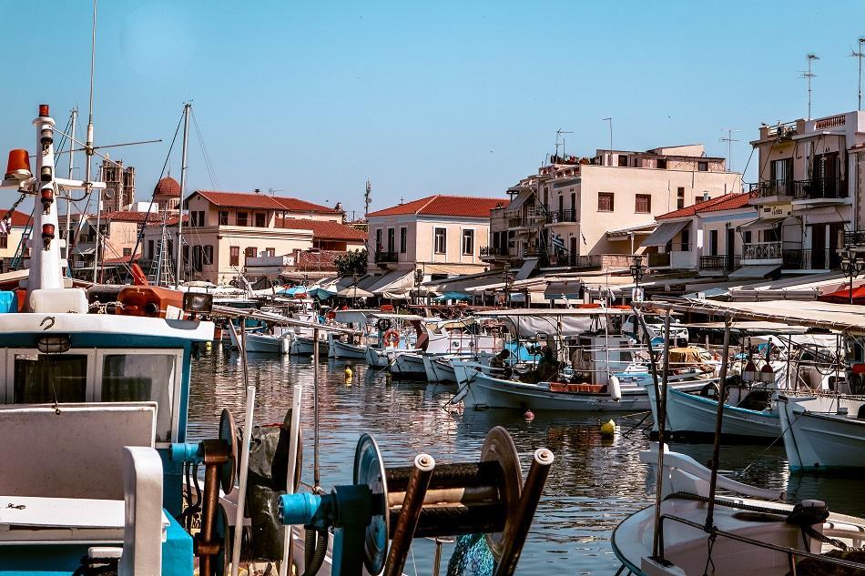 Boats in Aegina Island port, Greece