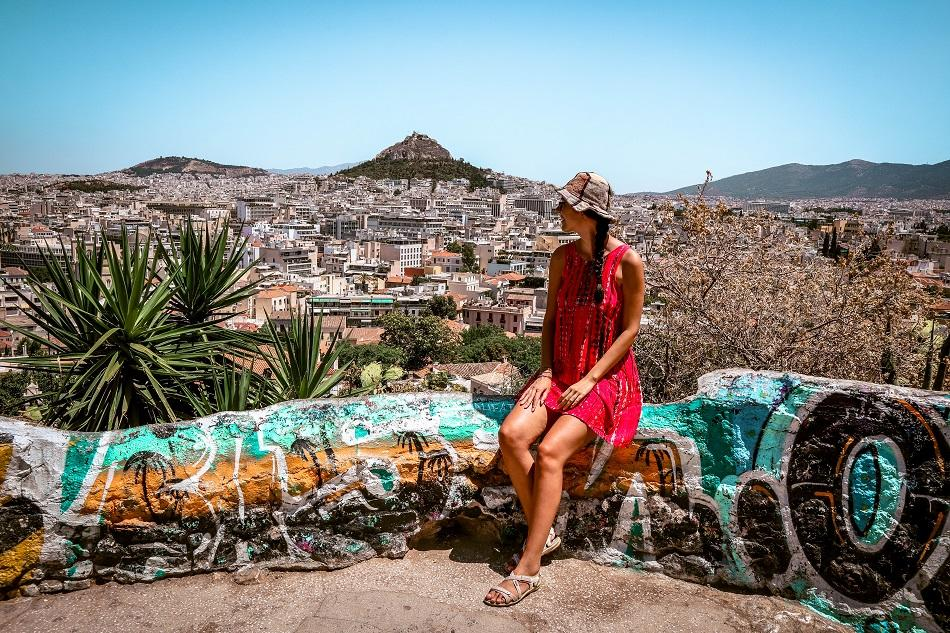 Girl admiring the view in Athens