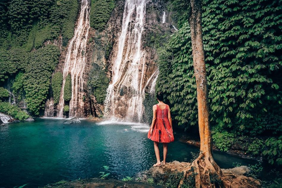 Girl at Banyumala Twin Waterfall, Bali
