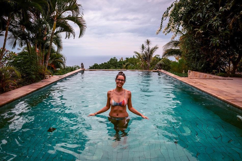 Girl in infinity pool at The Hamsa Resort Bali