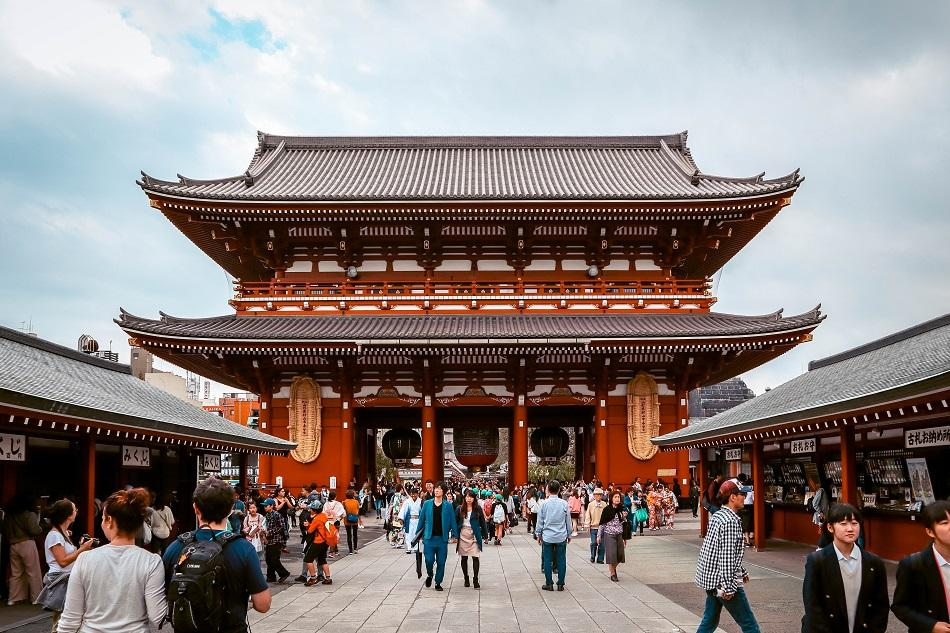 People visiting the Sensoji Temple in Tokyo