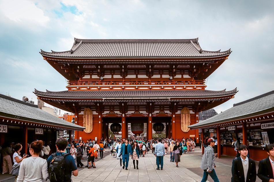 People visiting the Sensoji Temple in Tokyo