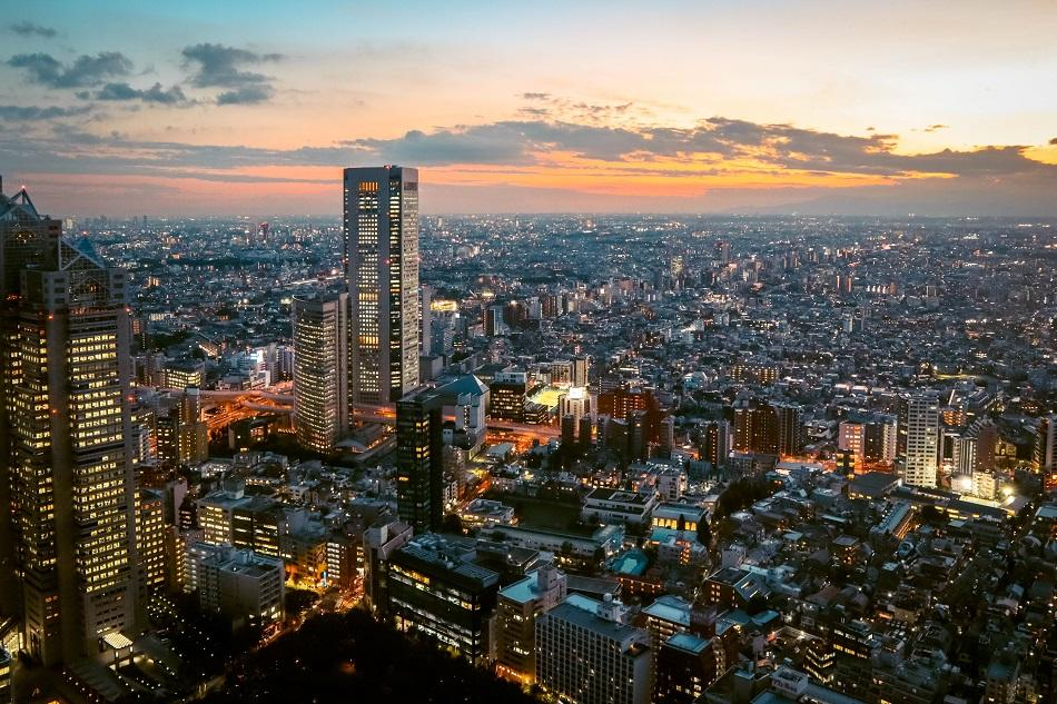 Sunset view over Tokyo from the Metropolitan Government Building