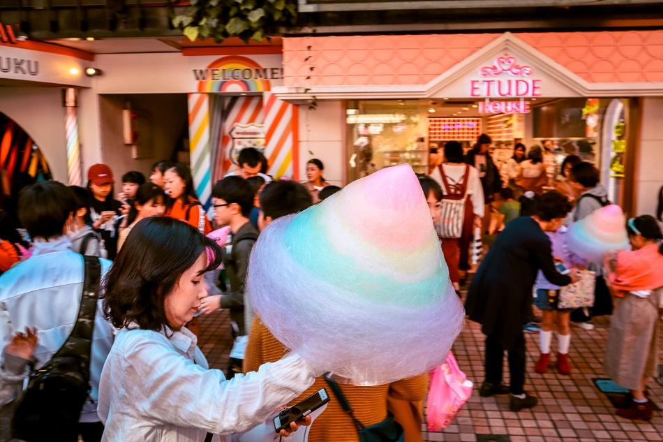 Colored, rainbow cotton candy on Takeshita Street, Harajuku