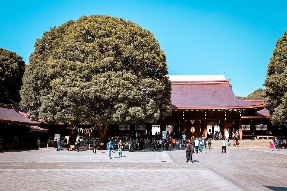 Meiji Shrine courtyard in Harajuku, Tokyo