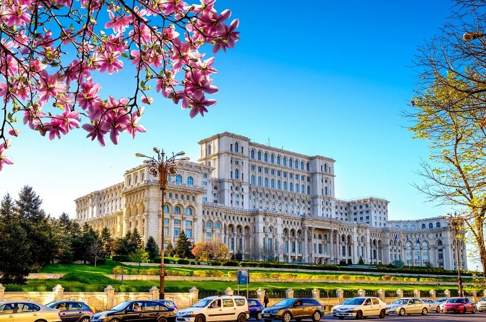 Bucharest Palace of Parliament front view in spring