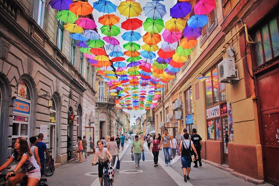 Timisoara umbrella street, Romania