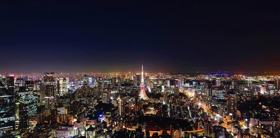 View over Tokyo at night with colorful lights