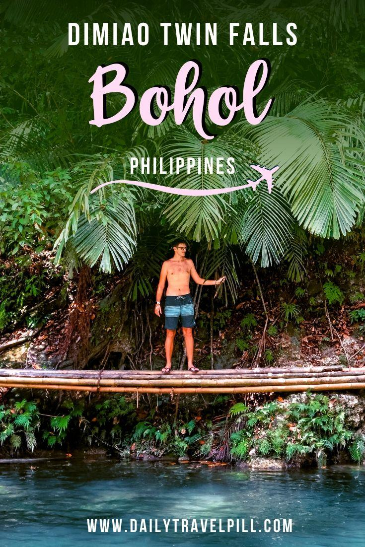 Man at Dimiao Twin Falls on a bamboo bridge in Bohol