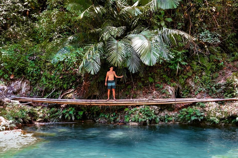 Bamboo bridge at Dimiao Twin Falls, Bohol