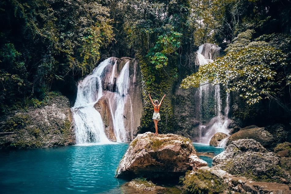 Girl in front of Dimiao Twin Falls in Bohol