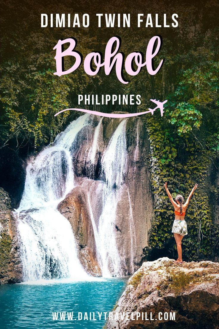 Girl standing in front of Dimiao Twin Falls Bohol