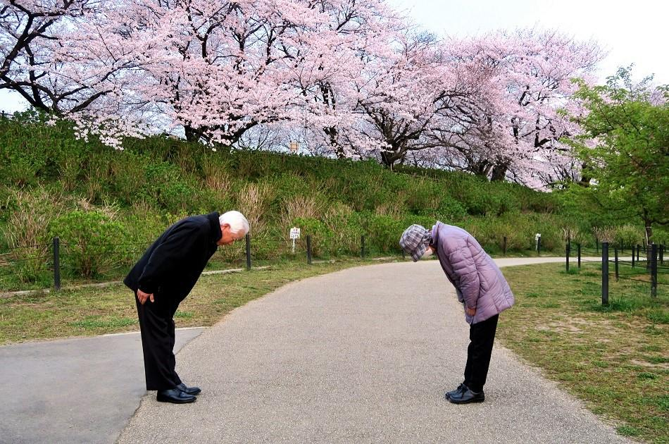 Japanese people taking a bow