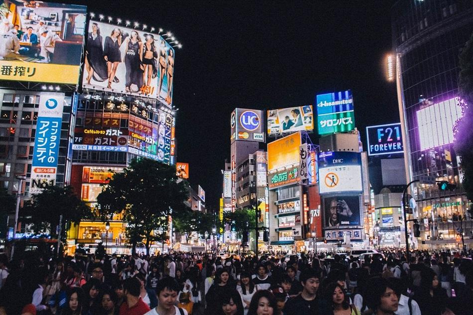 Shibuya Crossing in Tokyo during the night with lights