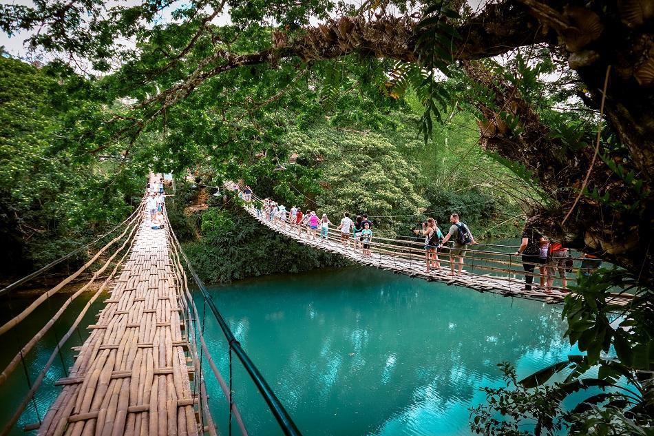 The Twin Bamboo Hanging Bridge in Bohol, Philippines