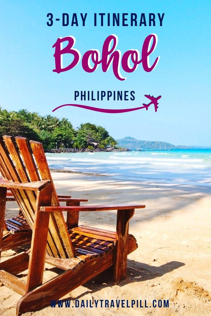 wooden chair on a beach in Bohol, Philippines