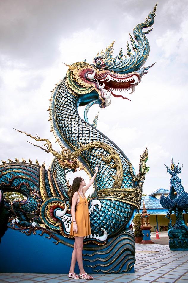 Tourist at Blue Temple Chiang Rai, also known as Wat Rong Seua Ten