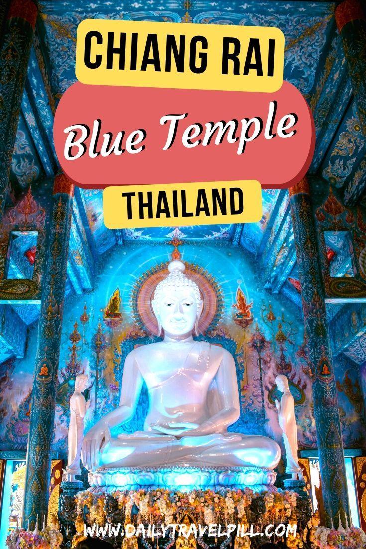 Blue Temple Chiang Rai, also known as Wat Rong Seua Ten giant white Buddha
