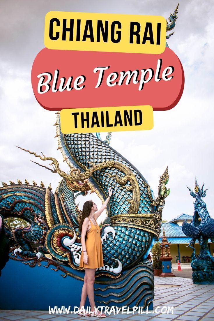 Blue Temple Chiang Rai, also known as Wat Rong Seua Ten huge serpent