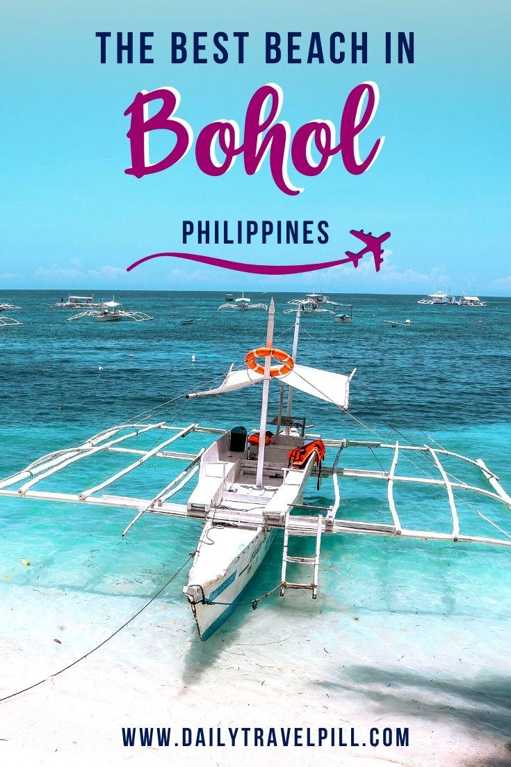 Filipino boat at Alona Beach shore Bohol