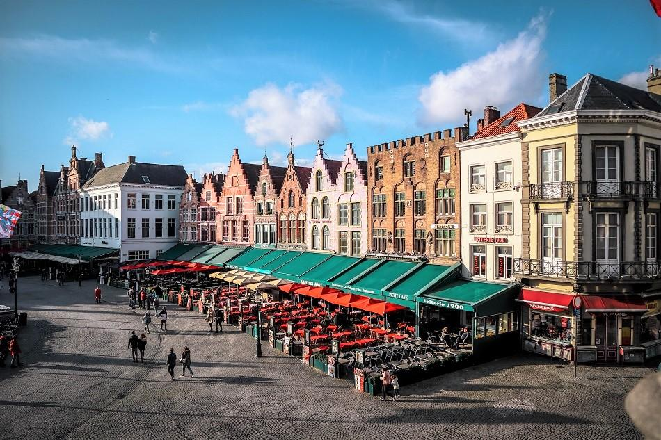 View from Historium Bruges over Central Market