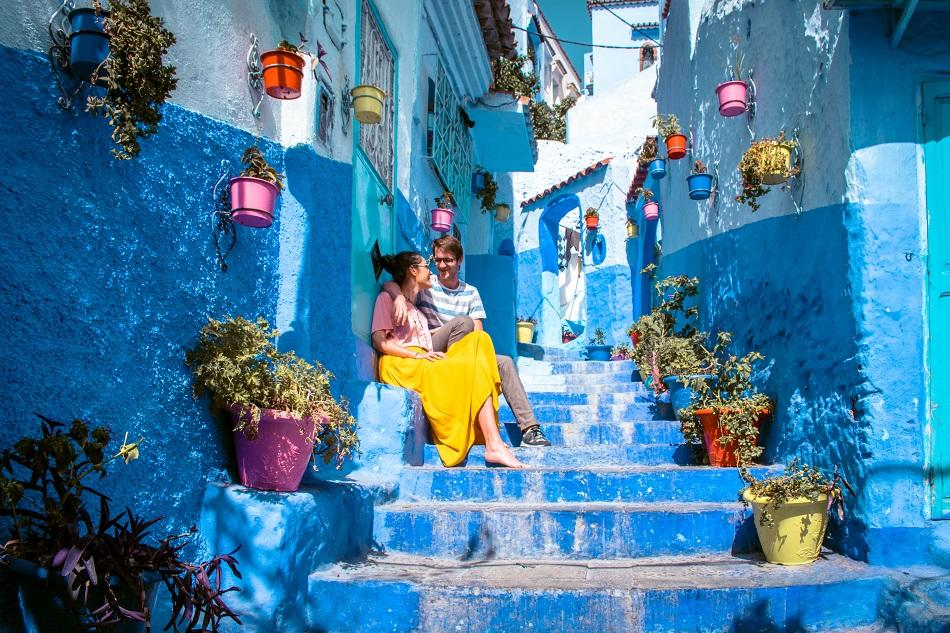 Famous stairs for photography in Chefchaouen, Morocco