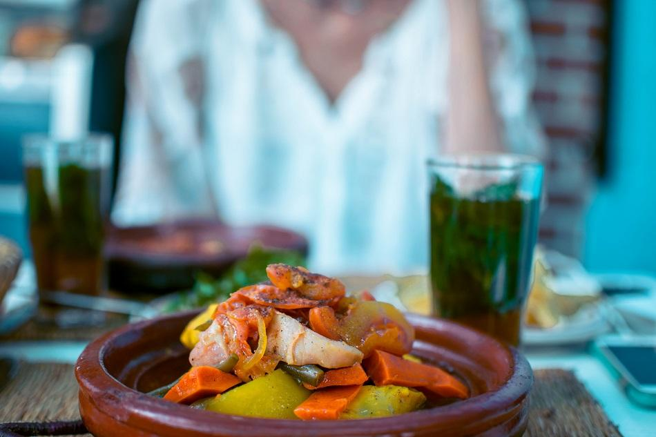 Eating tagine in Chefchaouen, Morocco