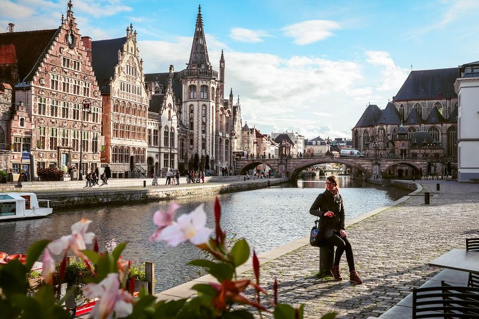 Ghent old town view over river