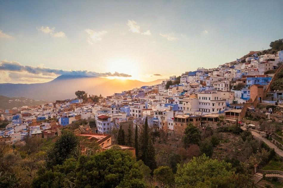 Sunset view from the Spanish Mosque, Chefchaouen Morocco