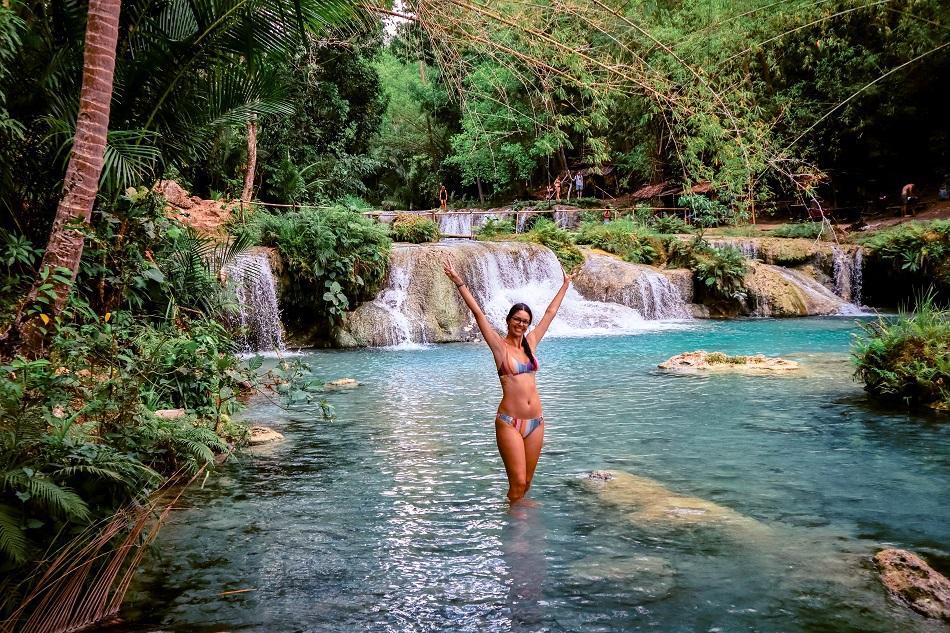 Girl at Cambugahay Falls, Siquijor