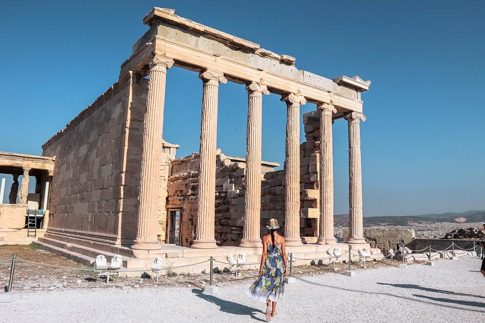 Girl walking at Acropolis Athens
