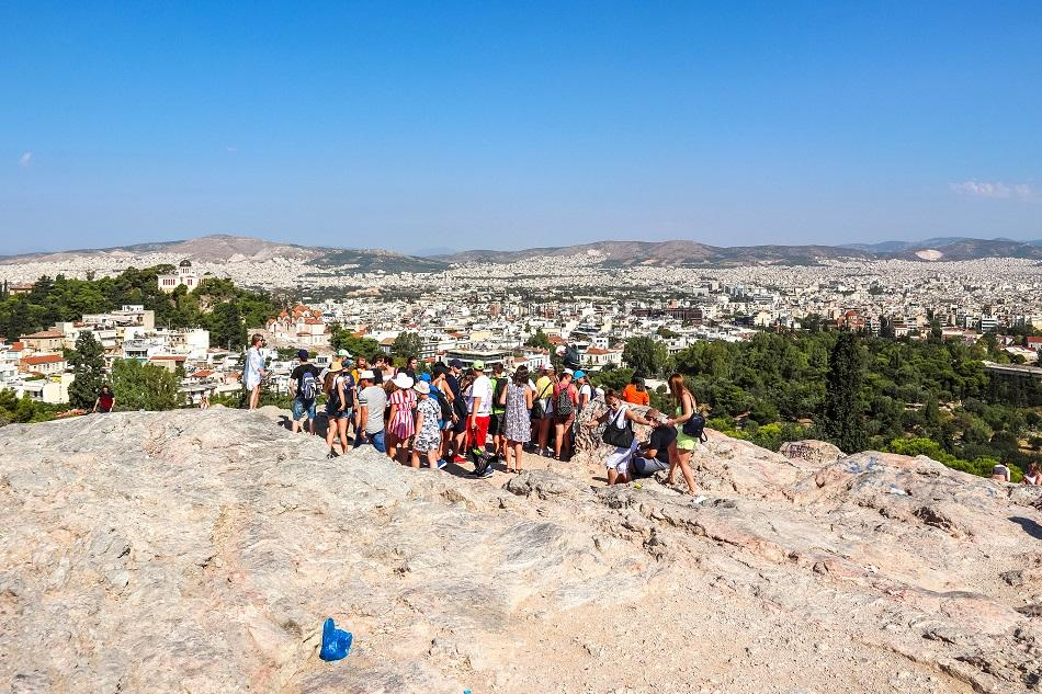 Tourists at Aeropagus Hill Athens