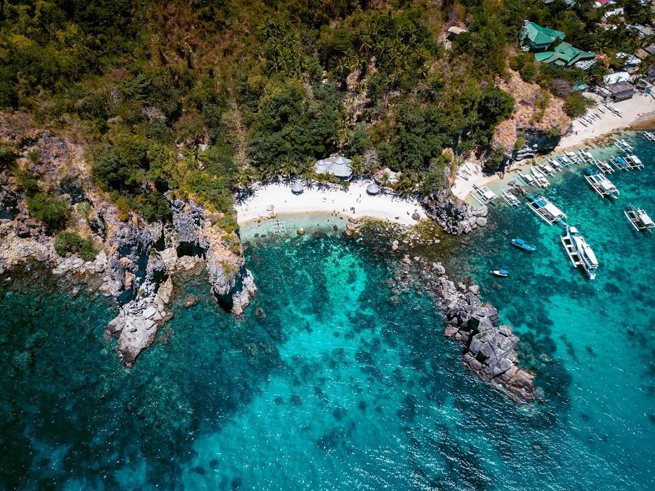 Apo Island drone view