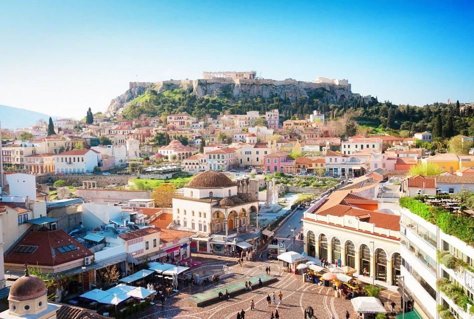 Athens Monastiraki Square and Acropolis view
