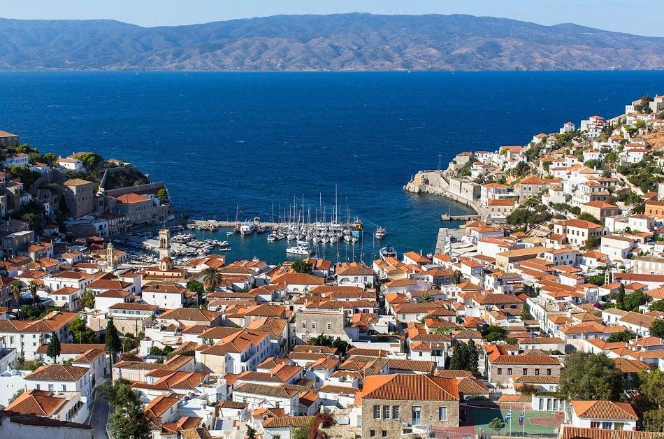 Hydra town panoramic view