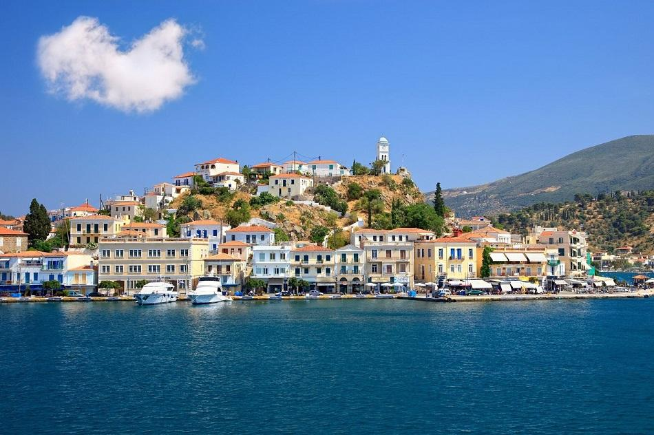 Poros front view - colorful Greek houses