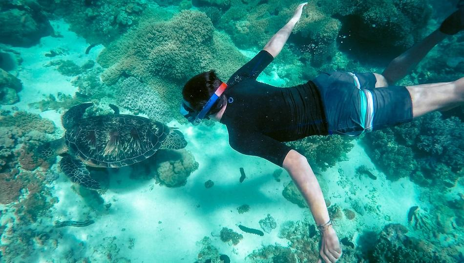 Boy snorkeling alongside a giant turtle at Apo Island, Philippines