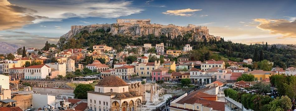 Sunset in Athens, view of acropolis and Monastiraki Square