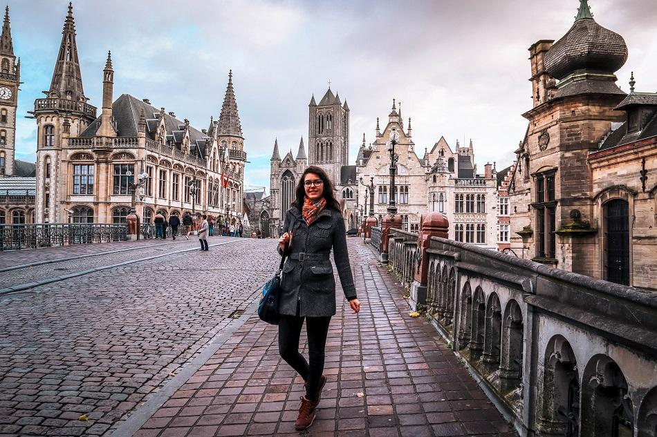 Girl on St. Michael's Bridge, Ghent