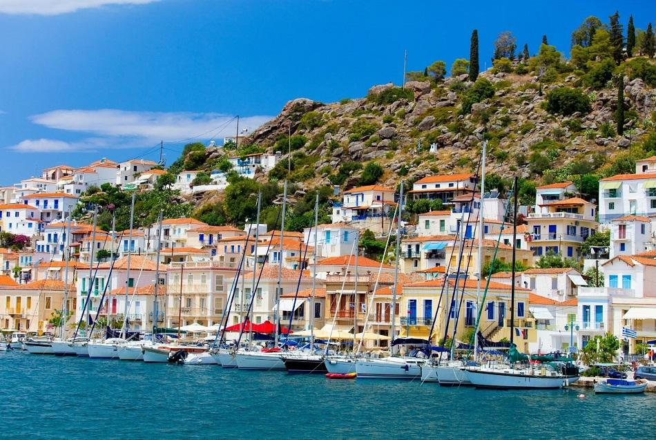 Poros Island near Athens colorful houses and boats