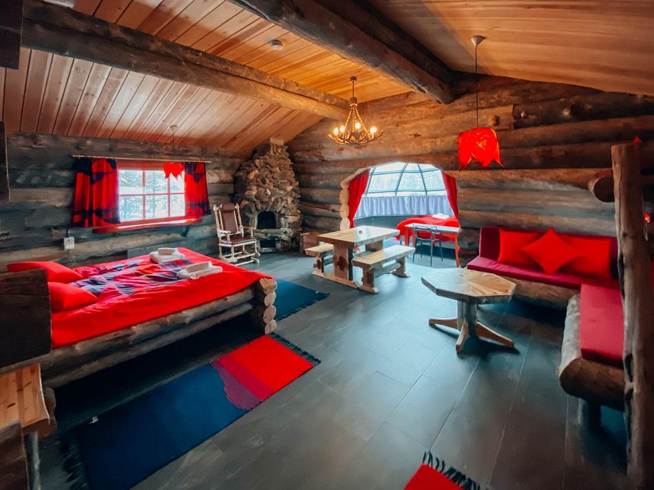 Kelo Glass Igloo room interior, Kakslauttanen Arctic Resort Lapland