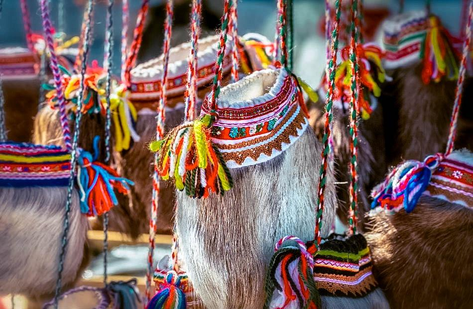 Sami people traditional colorful purses and souvenirs in Lapland, Finland