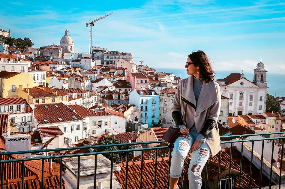 Aurelia Teslaru at Miradouro de Santa Luzia Lisbon