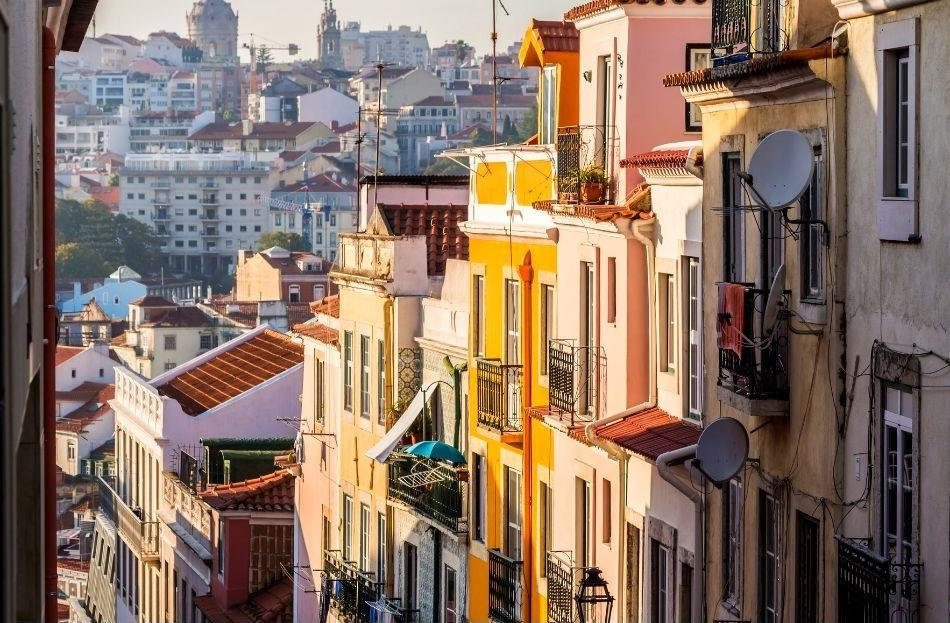 Barrio Alto neighborhood Lisbon - houses at sunset