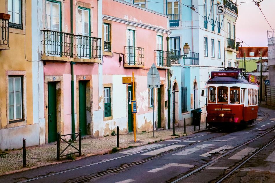Lisbon traditional red tram - free things to do in Lisbon